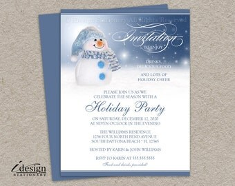 Snowman Invitations, Printable Snowman Holiday Party Invitation, Snowman Christmas Party Invitation Templates, Festive Winter Party Invites