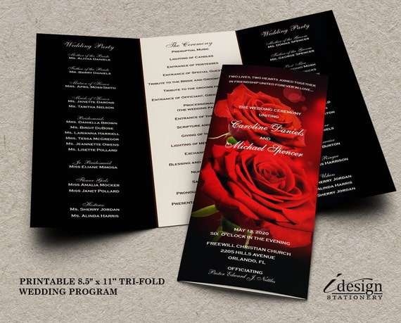 Red And Black Wedding Invitations Templates: Wedding Program With Red Roses Printable Romantic Wedding