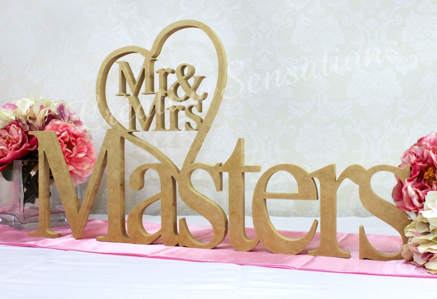 Personalised mr mrs heart wooden wedding name plaque for Personalised mr and mrs letters