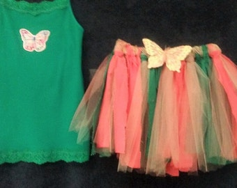 Butterflies, Peach and Green Rag Skirt outfit Ready to ship in size 7-8