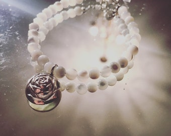 Valentine's Day Gift Idea - Handmade Rose Charm Bracelet with Mother of Pearl Beads