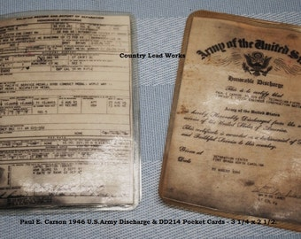 1946 Army Discharge Wallet Cards for Paul Carson - Lot of 2