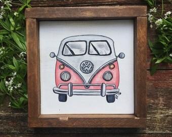 Pink VW van, Volkswagon bus painting, hand painted ans framed