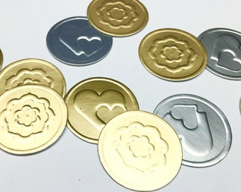 Envelope Seals. Gift Box Seals. Package Seals. Gold Flower Seals. Silver or Gold Heart Seals.