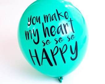 Happy Heart Balloon Notes, Happy Heart Balloon Note, Balloongram, Message Balloon, Printed Balloon