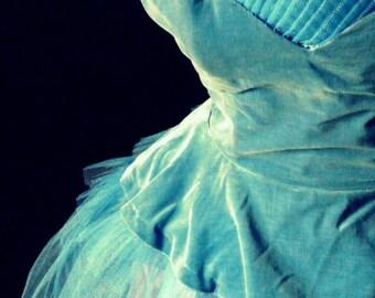 vintage antique shabby chic tulle  velvet prom dress