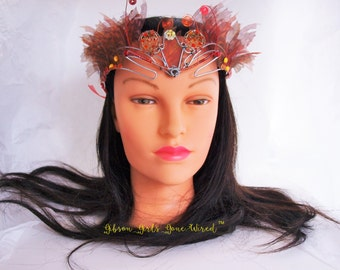 Flame Mask - Halloween Party Mask - Renaissance Fair - Fantasy - Costume - Masquerade - Cosplay - Mask for Eyeglass Wearer - Festival Mask
