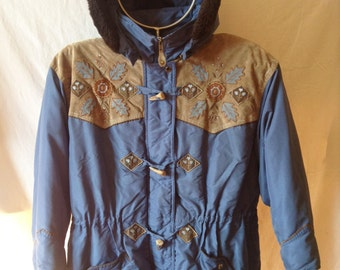 Jacket / Parka vintage, blue, faux leather and embroidery, René Derhy, size UK 10, US 28 F.