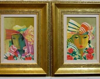 SALE original oil paintings Victor Shtivelberg  Russian artist female portraits ornate frames listed artist + Freight