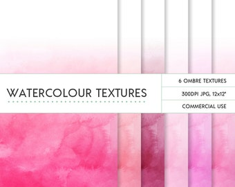 Pink ombre watercolor digital papers commercial use