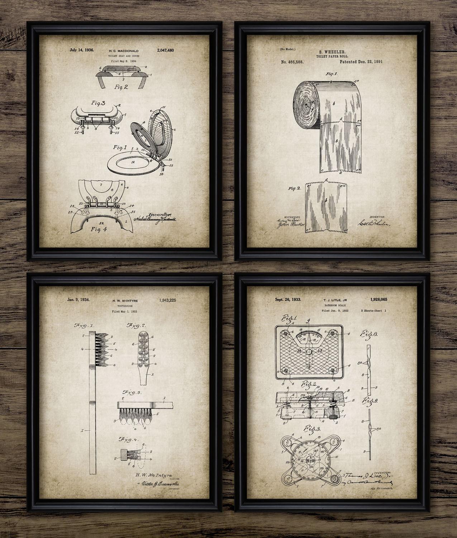 Bathroom Art Print Set Of 4: Bathroom Patent Print Set Of 4 Toilet Roll Lavatory Design