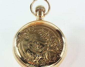 Engraved Pocket Watch,Elgin Pocket Watch,Gold Pocket Watch,14K Gold Watch,Elgin,Vintage Pocket Watch,Antique Pocket Watch,Gold Elgin Watch
