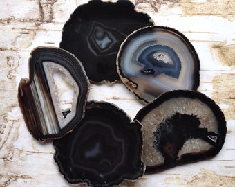 Amazing Agate Coasters Agate Coaster Set 2 to 10 Agates Geode Coasters  -Gold, Silver or Natural Edge - Black Brown Green Blue Pink Purple