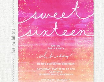 watercolor sweet 16 birthday invitation, 16th bithday party invitation, pink coral ombre watercolor, teen birthday digital invitation 151