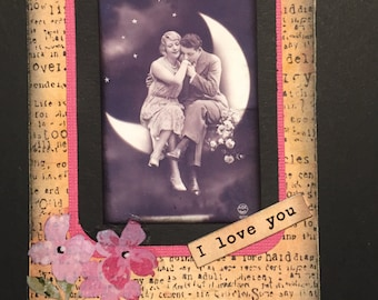"Vintage Mixed Media Collage ATC--""I love you"""