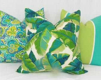 "Tropical leaf indoor/outdoor throw pillow cover. 18"" x 18"" . 20"" x 20"". 12"" x 20"". 13"" x 20"". outdoor pillow cover. toss pillow."