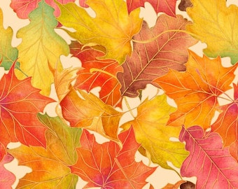 Harvest Bounty - Ecru Leaves (24499E) Quilting Treasures Cotton Fabric Yardage