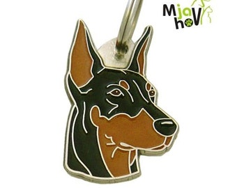 Pet ID tag, (Dog ID tag) Personalised, stainless steel, breed, Doberman