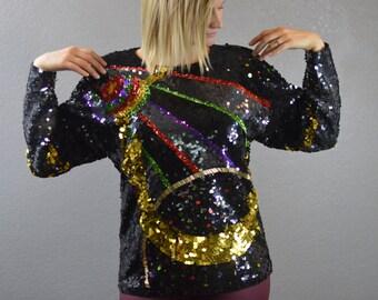 80's Vintage Mardi Gras Sequin Top Long Sleeve