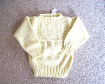 Hand Knit Child's Sweater, Little Boy or Girl Sweater, Pullover Size 4, Yellow Sweater for Girl or Boy