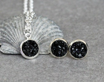 Black Necklace Set, Black Stud Earrings, Black Druzy Earrings, Black Pendant Necklace, Black Post Earring, Black Earrings, Black Studs 8MM