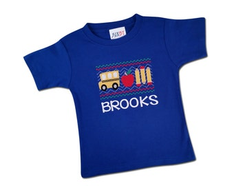 Boy School Shirt with Faux Smocked School Bus and Embroidered Name