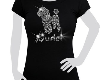 Ladies T-shirt cotton Rhinestones Poodle