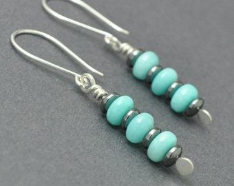 Amazonite Earrings, Hematite Earrings, Gemstone Earrings, Sterling Silver Dangle Earrings, Silver Amazonite Earrings