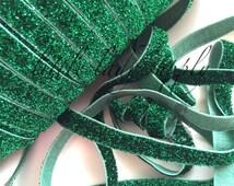 "Emerald Green Glitter Elastic 3/8"", you choose yards, wholesale, glitter, headbands, elastic, ribbon"