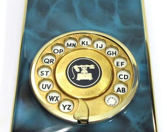 Funky Retro Vintage Modern Painted Metal Rotary Dial Phone Number Index Address Book