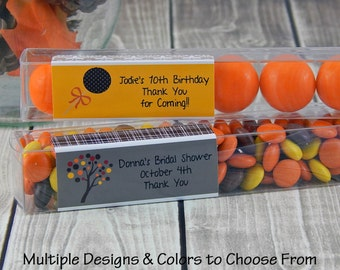 Fall Bridal Shower Favors - Rustic Wedding Favors - Candy Tubes - Gumball Tubes - Country Party Favors - Personalized Favors - Set of 15