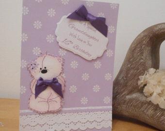 Handmade 16th Birthday Card with Teddy Bear