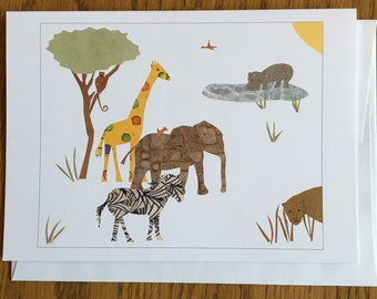 African Card, Greeting Card, cut paper art, baby greeting card, nursery, kids, african art, african greeting card children