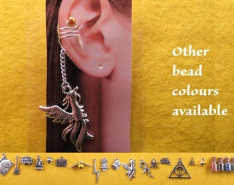 Wizard ear cuff and chain with the charm and bead of your choice.