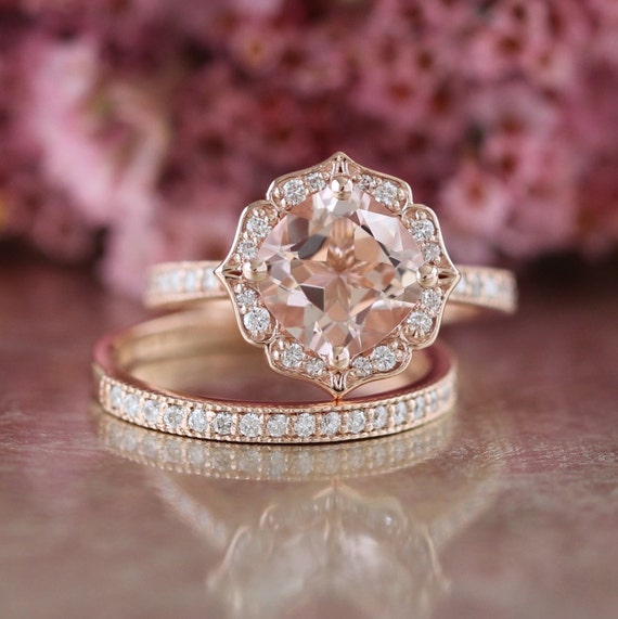 Bridal Set Vintage Floral Morganite Engagement Ring and