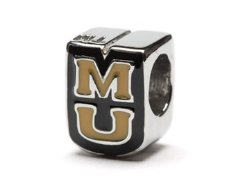 Missouri MU Bead Charm for Bracelet or Necklace - Fits Pandora - Stainless Steel