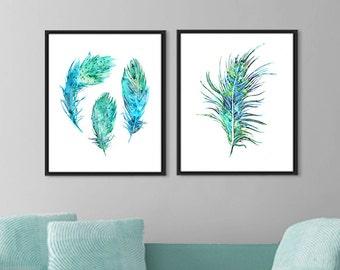 Blue feather original watercolor art print, watercolor painting, archival print, blue home decor, wall hangings, art print set - F302
