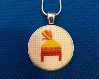 Firefly cross stitch necklace in silver pendant
