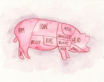 Pork Butcher's Chart Watercolor Painting, Food Illustration Print, Pig Meat Chart, Kitchen Art Print, Home Decor, Pork Meat Chart