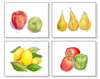 Fruit Prints Fruit Watercolor Kitchen Paintings Kitchen Art Fruit Art Vegetable Art Still Life Apples Lemons Bell Peppers Pears Set of 4