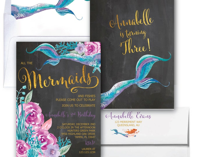 Mermaid Birthday Invitation // Under the Sea // Watercolor // Gold Foil // Boho Chic // Floral // Girls // Purple // QUEENSLAND COLLECTION