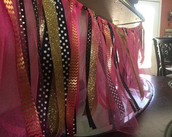 Pink/Black/Gold Ribbon Garland