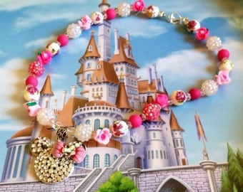 Disney Tangled inspired chunky beaded necklace, Rapunzel jewelry