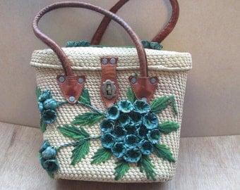 Vintage  Blue Cream Straw Flower Hand Bag, Leather Handles