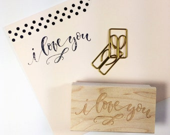 I Love You (small) // Hand-Lettered Stamp