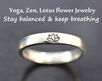 Yoga ring, Lotus flower ring, Zen ring, Lotus ring, Yoga jewelry, Yogi ring, Reminder ring, Zen gift for Her, 100% Handmade, Sterling silver
