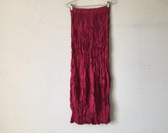 Vintage Skirt - Cranberry Crinkle Wrinkle Tiered Maxi Skirt Goth Punk Grunge Boho