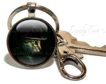 Steampunk Cata Keychain, Cat Key Chain, SkullTabby Key Ring, Key Fob, Black Keychain, Keychain with Clip, Key Fob with Clasp, Swivel Hook