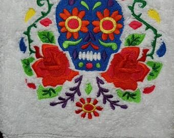 Calavera Embroidered Hand Towel