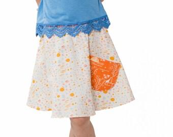 Orange Floral Skirt ~ Giraffe Print Skirt ~ Girls Tangerine Skirt ~ Orange Circle Skirt ~ Skirt With Pocket ~ Girls Orange Circle Skirt